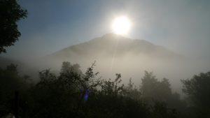 Soleil dans la brume matinale